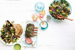 Thyme and pepper crusted beef with horseradish cream and salad variations