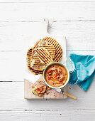 Red baba ghanoush with quick flatbread