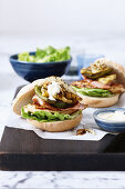 Peri peri chicken and grilled pineapple burgers