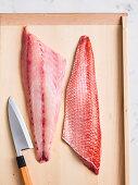 Frisch filetiertes Fischfilet