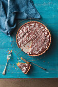 Chewy golden syrup and chocolate tart