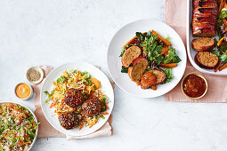 Korean pork rissoles with lettuce slaw, Bacon-wrapped chicken meatloaf with sweet potato salad