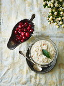 Bread sauce and cranberry sauce