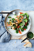 Salmon, lemon and herb skewers