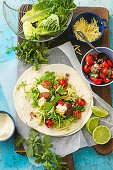 Meatball tacos with charred tomato salsa