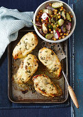 Cheesy chicken with roasted brussels sprouts and chickpea salad