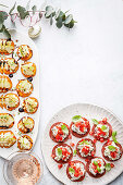 Sweet potato, pear and goat s cheese bites; Spicy salami bites