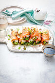Smoked salmon sushi rolls