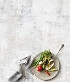 Dukkah-swirled labne dip; Broad bean, avocado and mint dip; Roasted olives