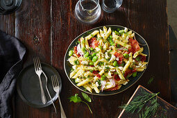 Warm Penne with Prosciutto and broad beans