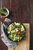 Mushroom, rocket and goat's cheese Rigatoni salad