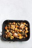 Roast mushroom and pork bake