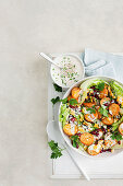 Roast potato salad with spicy buttermilk dressing
