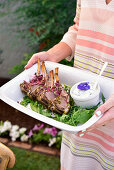Lamb chops with a herb crust and tzatziki