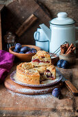 Streusel plum quark cake
