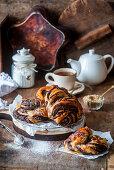 Cinnamon and chocolate pastries