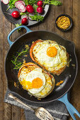 Croque Madame with fried eggs