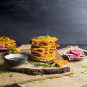 Kimchi Pancakes with Pickled Radishes