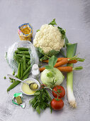 Ingredients for making vegetable stew with pasta
