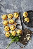 Tuna, corn and parsley fritters