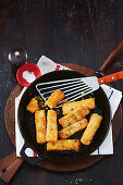 Crispy blue cheese and thyme polenta fingers