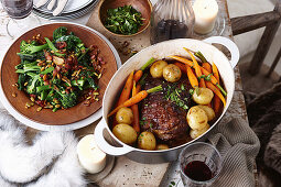 Sauteed tuscan cabbage with crispy bacon and pepitas; Slow-cooked beef pot roast with thyme gremolata
