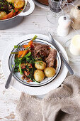 Slow-cooked beef pot roast with thyme gremolata