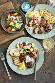 Lemon and oregano rissoles with greek salad