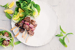 Salt and pepper beed and lettuce wraps