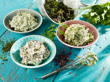 Three types of herb butter with algae
