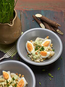 Salsify and egg salad with chive dressing and butter croutons