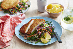 Chicken Schnitzels with Chrunchy Slaw