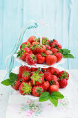 Fresh strawberries on a cake stand