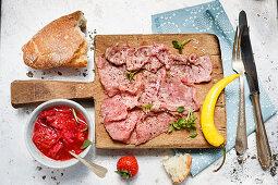 Roast beef with strawberry salsa
