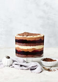 Coffee, hazelnut and chocolate mousse trifle
