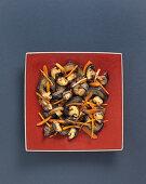 Stir-fried vegetables with aubergines and shiitake mushrooms