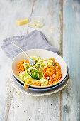 Mixed veggie noodles in a bowl (low carb)