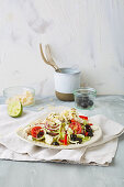 Greek veggie noodle salad with feta cheese, tomatoes and olives (low carb)