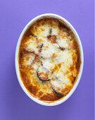 Aubergine gratin with mozzarella