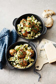 Farfalle with veal meatballs and salsa verde