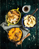 Spanisches Kartoffelpüree, Pastinakenpüree mit brauner Butter und Koriander-Karotten-Püree