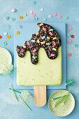 Pine-lime popsicle ice-cream cake