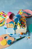 Jelly poke cake with painting utensils