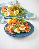 Cauliflower fritters with bacon and eggs