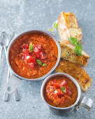 Pappa al pomodoro with feta toasts