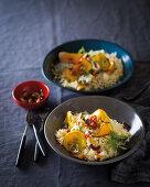 Pumpkin rice with cashew nuts and raita (vegan)