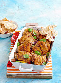 Middle eastern chicken tray bake with lebanese bread