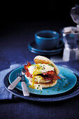 American eggs Benedict with bacon
