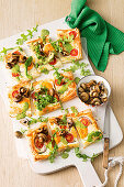 Egg, mushroom and pesto tarts