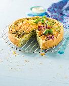 Green garlic and asparagus quiche